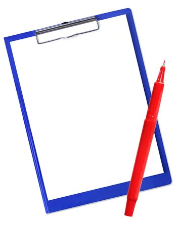 Blue clipboard with blank white paper and red pen, isolated on white. photo