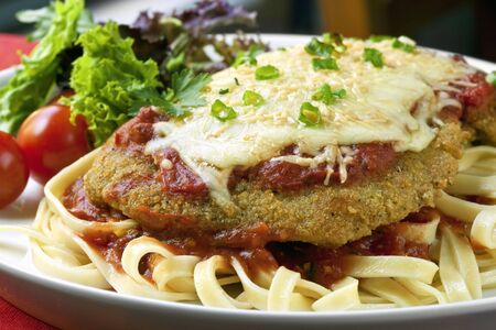 parmesan: Chicken Parmigiana over fettucine, with a side salad.   Stock Photo