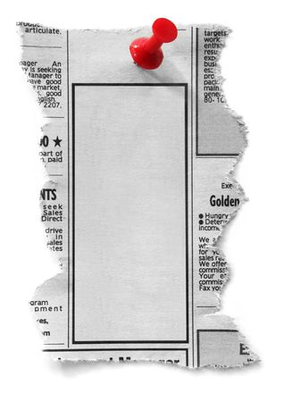 classified: Blank newspaper classified ad, ready for your message.  Fastened with red push pin.