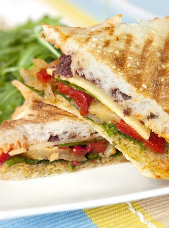 Grilled sandwich or foccacia, with roasted red capsicum, spinach, onion, and melting cheese.