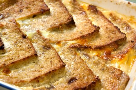 pudding: Traditionally English bread and butter pudding.  Shallow DOF.