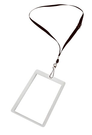 lanyard: Blank security tag or identification pass, on a lanyard, isolated on white.