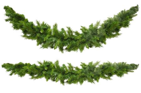 Christmas garlands, curved and straight, isolated on white.  Ready for your own decorations.