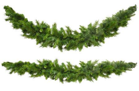 slingers: Kerst slingers, gebogen en rechte, geïsoleerd op wit. Klaar voor uw eigen decoraties. Stockfoto