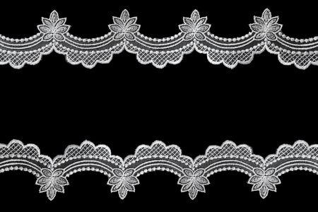 petoncle: White festonn�es dentelle sur fond noir.  Une belle fronti�re d�licate.