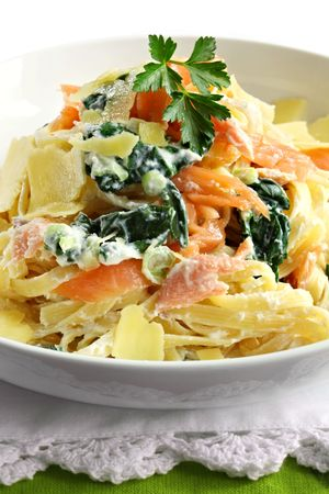 smoked salmon: Linguine with smoked salmon, ricotta, spinach, and shaved parmesan.