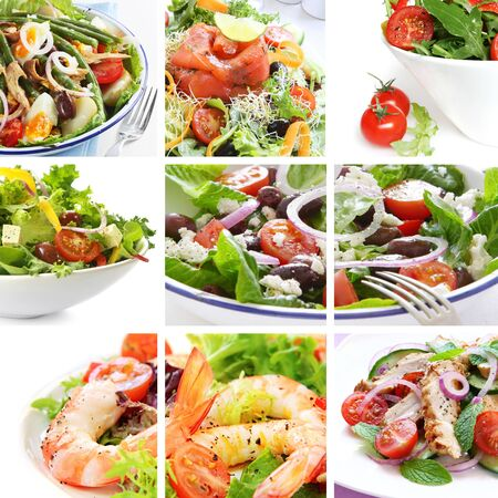 Collage of salads, including Nicoise, Greek, smoked salmon, prawn, chicken, and tomato. photo