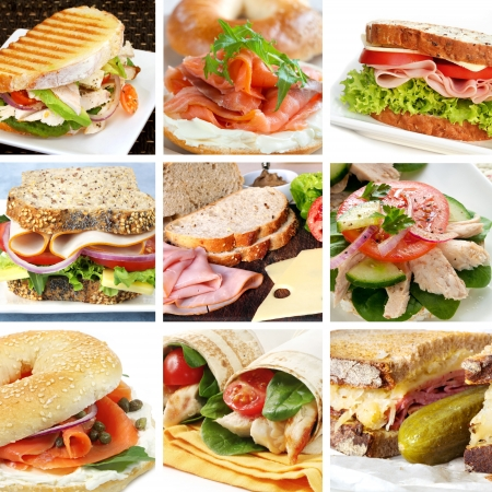 smoked salmon: Collage of salads, including Nicoise, Greek, smoked salmon, prawn, chicken, and tomato. Stock Photo
