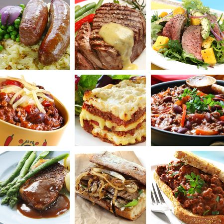 Collage of delicious beef meals.  Includes steak, sausages, chili, salad, lasagne.   photo