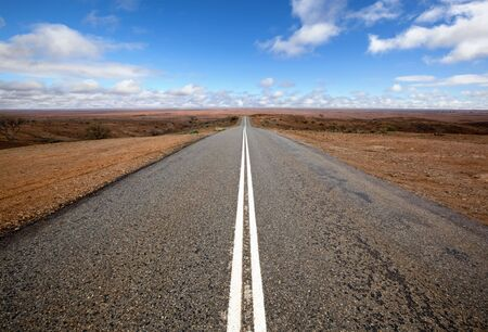Open road in Australian outback.  Mundi Mundi, west of Silverton, New South Wales.  The horizon is so vast that you can see the curvature of the Earth. photo