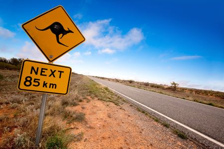 australia: Kangaroo warning sign on a road in the Australian outback.  Western New South Wales. Stock Photo