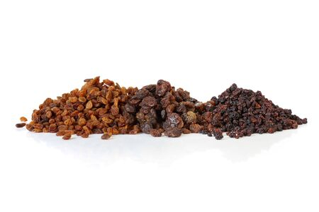 sultanas: Sultanas, raisins and currants, isolated on white with soft shadow.  Delicious dried fruits, ready for your recipe. Stock Photo