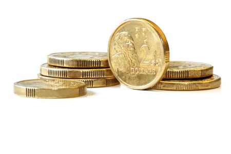 dollar coins: Australian two dollar coins, isolated on white with soft shadow.
