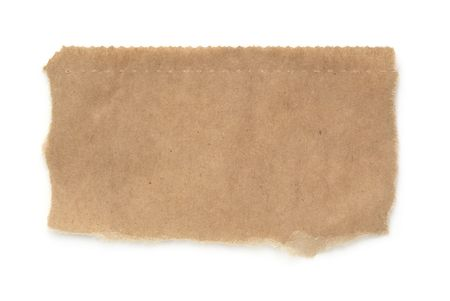 serrated: Torn piece of a brown paper bag, isolated on white with soft shadow.  Macro, with lots of paper textures and serrated top edge.