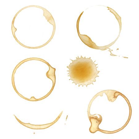 Coffee cup stains and splashes, isolated on white. photo