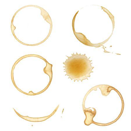 manchas de cafe: Manchas de taza de caf� y salpicaduras, aislado en blanco.