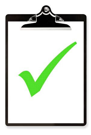 Clipboard with single large green tick or check mark.  Isolated on white. photo