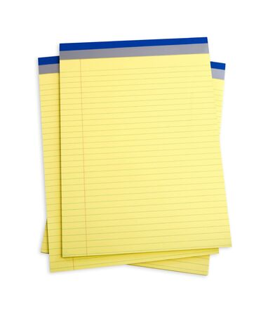 Stack of yellow lined notepads, isolated on white photo