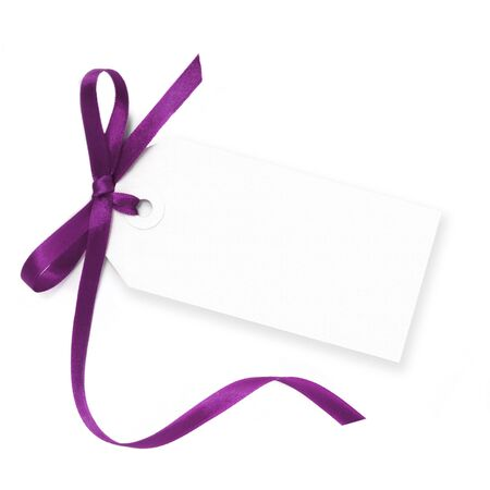 satin ribbon: Blank gift tag tied with a bow of purple satin ribbon.  Isolated on white, with soft shadow. Stock Photo