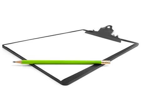 angled view: Clipboard with white paper and a green lead pencil, isolated on white with soft shadow.  Angled view.