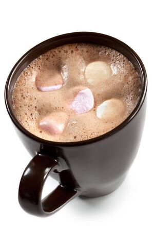 marshmallows: A brown mug of hot chocolate, with marshmallows on top. Stock Photo