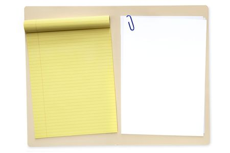 manila: Open manila file folder, with yellow lined notepad and blank white paper.