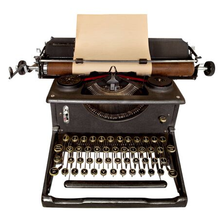 Vintage manual typewriter, with sheet of aged notepaper providing copy space.  Isolated on white.  photo