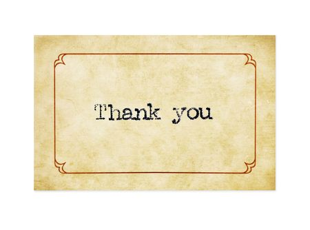 Thank you typed on gilded card, with grunge effect.  Isolated on white. Stock Photo