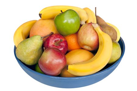 Blue bowl of fresh fruit, isolated on white.  Includes bananas, mango, pears, apples, oranges, grapefruit and mandarins. photo