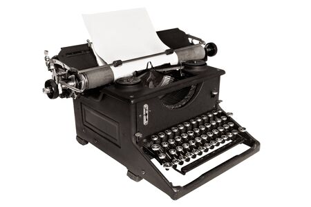 Antique typewriter, isolated on white, with blank paper.  Black and white image. photo