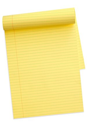 yellow notepad: Yellow lined notepad, with pages turned back Stock Photo