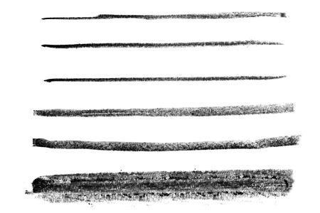 line in: Insieme di linee di gesso nero, isolata on white.  Archivio Fotografico