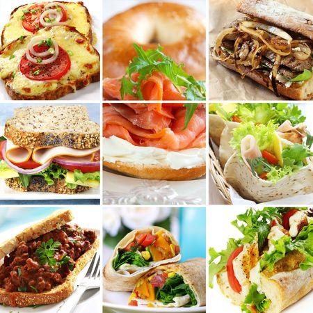 saumon fum�: Collage de sandwichs, y compris le saumon fum�, du b?uf, jambon, dinde, poulet et l�gumes. Wraps, baguettes, bagels, du pain de bl� entier. Banque d'images