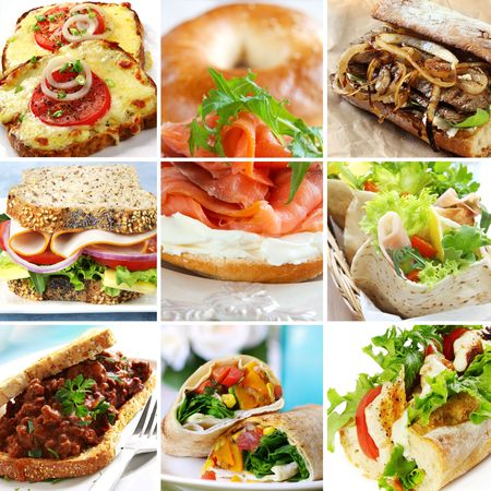 sloppy: Collage of sandwiches, including smoked salmon, beef, ham, turkey, chicken, and vegetables.  Wraps, baguettes, bagels, wholewheat bread. Stock Photo