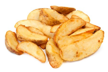 fries: Potato wedges, straight from the oven, ready to eat.  Isolated on white.