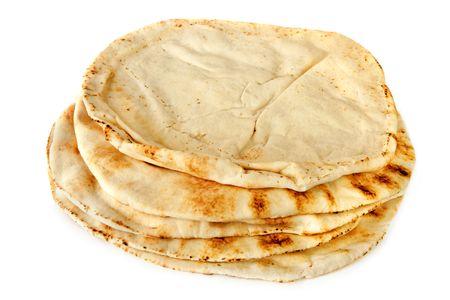 pita: Stack of pita bread, isolated on white.