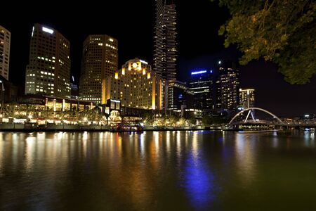 southgate: Melbourne, Australia, by night.  View over the Yarra River to Southgate, with the Eureka Tower in the centre.
