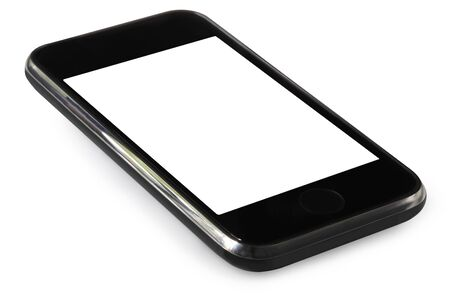 touchtone: Touch screen mobile phone, isolated on white.  Stock Photo