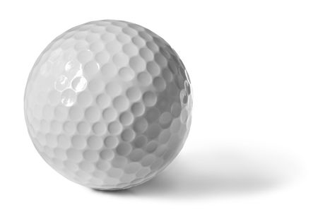 Golf ball, isolated on white with soft shadow.   photo