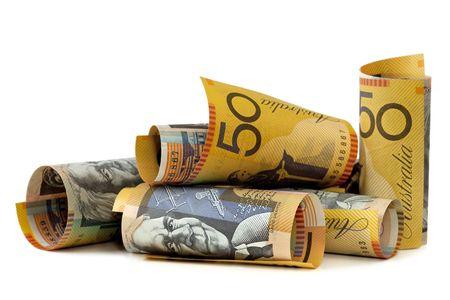 Australian fifty dollar notes, isolated on white. Stock Photo - 6054571