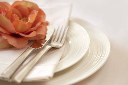 Place setting in soft focus, with delicate peach flower.  shallow depth of field. Stock Photo - 6054576