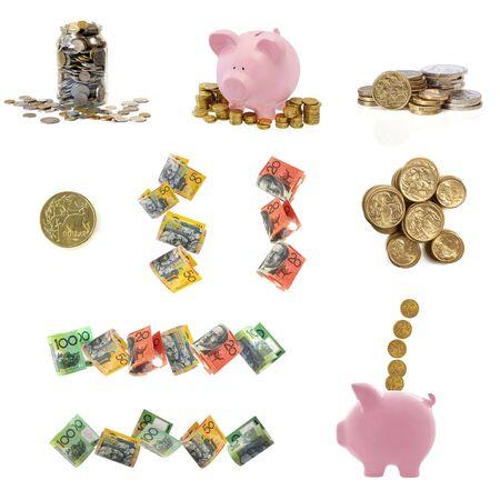 bolsa dinero: Colecci�n de im�genes de dinero australiano, aislados en blanco.  Foto de archivo