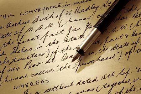 Old Handwritten Legal Document With Fountain Pen Real Estate - Real estate legal documents