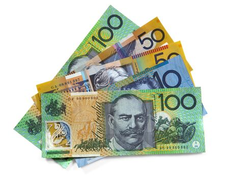 Australian money over white background.  Clipping path included. photo