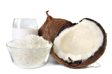 with coconut: Fresh coconut, shredded coconut, and coconut cream, isolated on white. Stock Photo