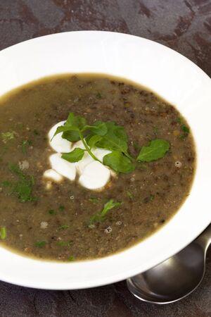 green lentil: Green lentil soup, with yoghurt, garlic and watercress.