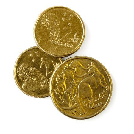 australian animal: Un d�lar y d�lar dos monedas australianas, aisladas en blanco con sombra suave.