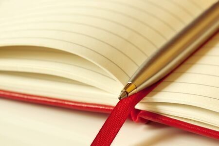 Ballpoint pen on an open red-covered book.  Shallow depth of field. photo