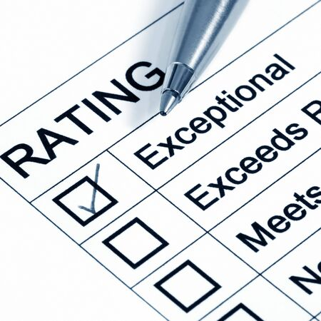 marked: Performance Rating, with :exceptional marked. Stock Photo