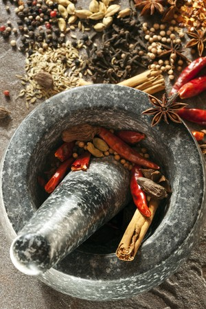 peppercorns: Granite mortar and pestle with spices ready for grinding.  Perfect for making garam masala.  Includes dried red chilies, cinnamon, peppercorns, cardamom, coriander, cloves, star anise, cumin, and fennel.
